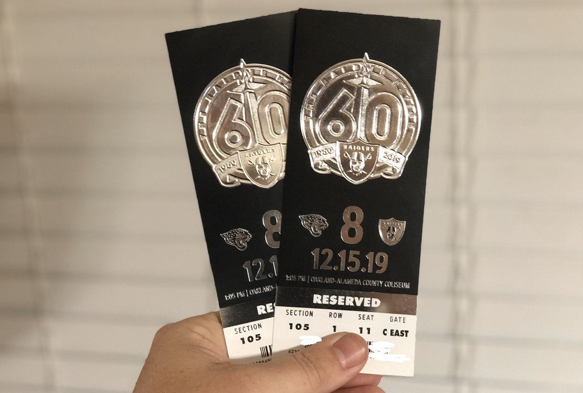 Guess what showed up today? Me & my wife's tickets for the final (regular season) game in #Oakland vs. the Jaguars.   Front row of the #BlackHole.<br>http://pic.twitter.com/mDG0ME3A1E