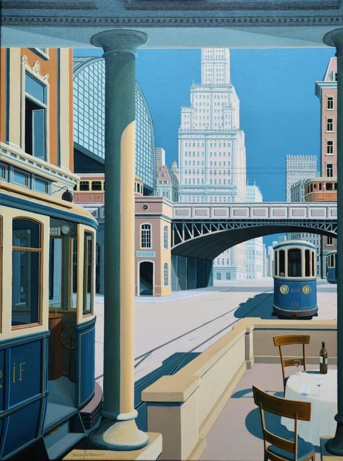 Here we are. A tram painting and architectural detail too. The artist Joop Polder. Very peaceful piece..