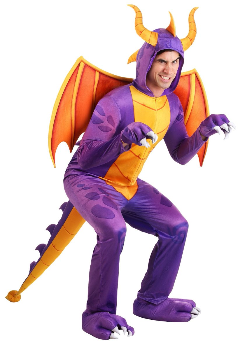 That facial expression tho lol #SpyroTheDragon #Spyro Official adult Spyro costume, from here:  https://www. halloweencostumes.com/spyro-the-drag on-adult-costume-jumpsuit.html  … <br>http://pic.twitter.com/8PJtPhrtBp