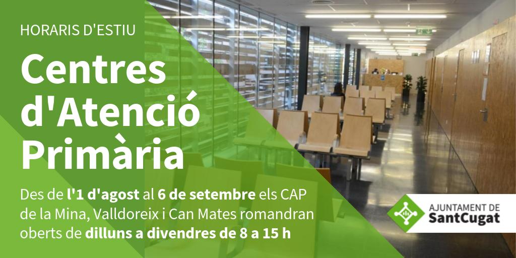 🏥 Fins al 6 de setembre els CAP de #SantCugat estan oberts en horari d'estiu   Trobareu tota la informació ⏩ https://t.co/wuPy3RL82p   @Mutua_Terrassa