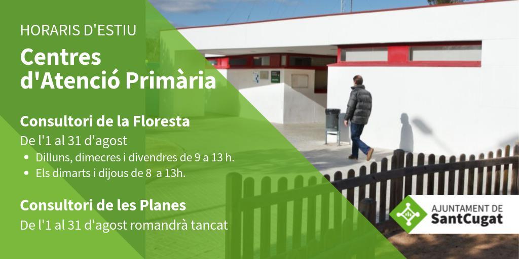 🏥 El Consultori de #lafloresta atén al públic en horari d'estiu fins al 31 d'agost.  ℹ️Tota la informació a ⏩ https://t.co/V5goHFzU3G