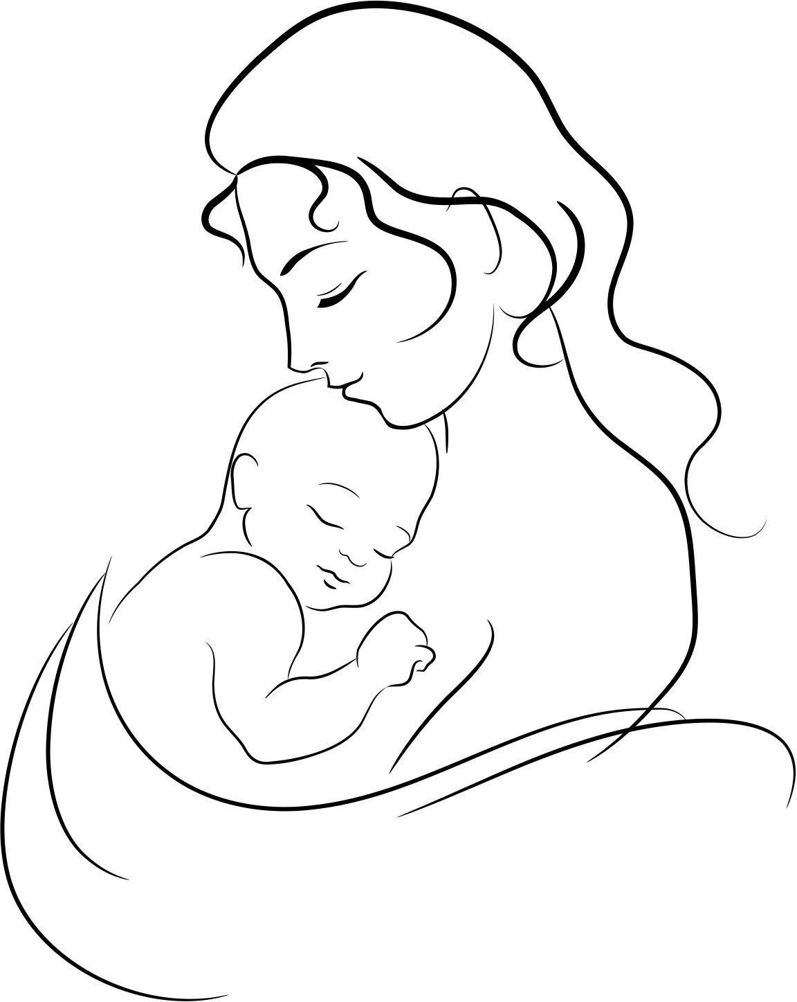 Женщина с ребенком картинки карандашом, рождеством поздравлениями