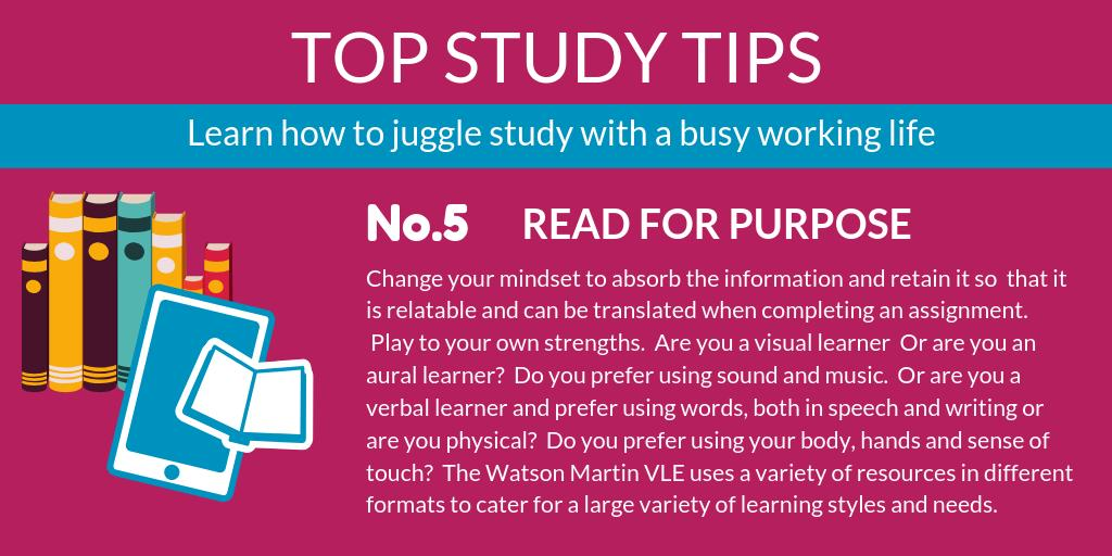 Watson Martins Top Study Tips No 5! We are all so used to constantly flicking through our phones, catching up on social media or reading about celebratory gossip, it can be difficult to concentrate and read with purpose ... #hr #cipd #studyskills buff.ly/31Hop1G