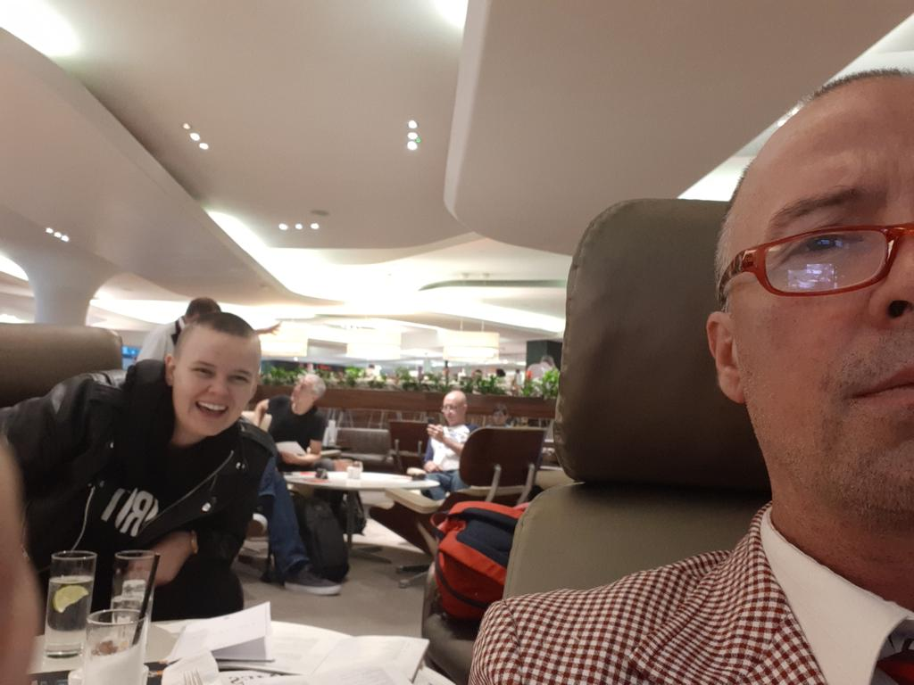 Gin Fizz and Vodka Soda kick off the morning round of Heathrow #AirportPubCrawl w @oliviadoesbits - along with eggs Benedict followed by manicures, massage and more gin and vodka. Virgin Clubhouse doesn't mess around. <br>http://pic.twitter.com/I5ndE2ddHD