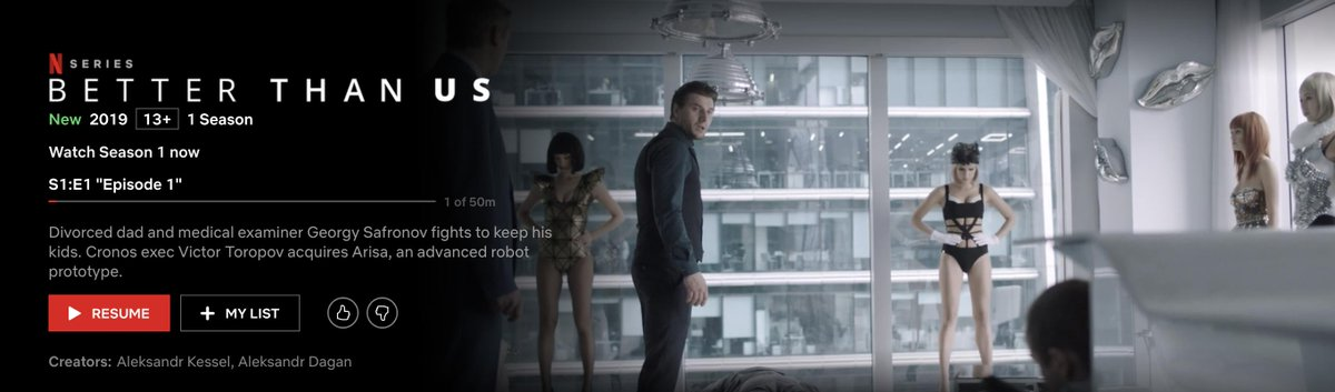 I'm watching 'Better than us', new netflix series. Kind of #Blackmirror like, when robots are almost on level footing with humans #AI #robotics<br>http://pic.twitter.com/7xLJexzo2w