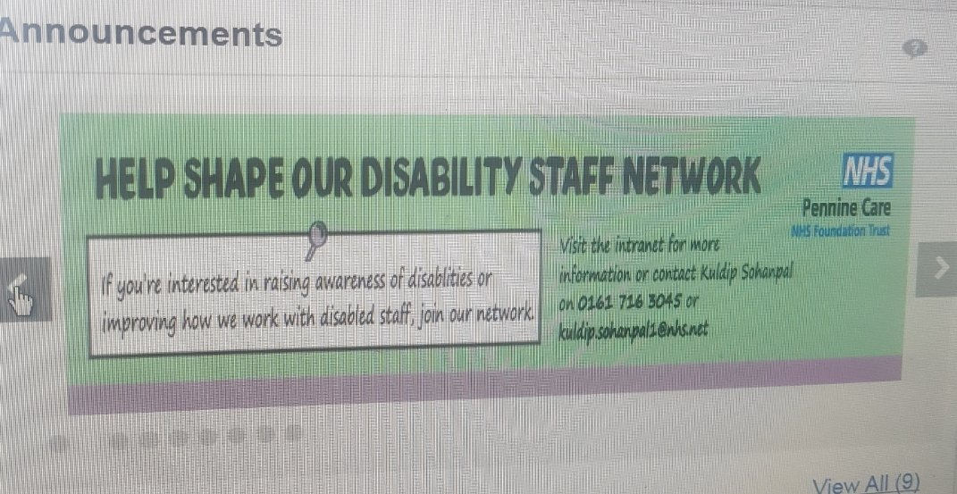 Thanks to the lovely Olivia in our comms team for designing this banner for ESR self service  promoting our exciting, brand new 👉Disability Network👈 launching Monday 2nd September 🙌 @Jaco_H_Nel @nicky_littler https://t.co/6QqalCxLBh