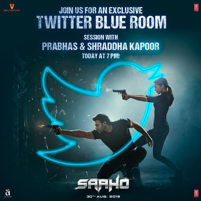 Prabhas and I will be Live exclusively on Twitter at 7 PM, chatting about all things #Saaho. Tune in
