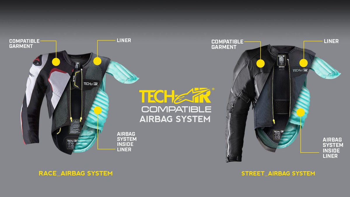 #TechTuesday fact: Tech-Air is the world's first self-contained street airbag system that independently functions without the need for sensors to be installed on the bike and the subsequent need to link a specific motorcycle to the airbag system used by the rider ⚡ #Alpinestars