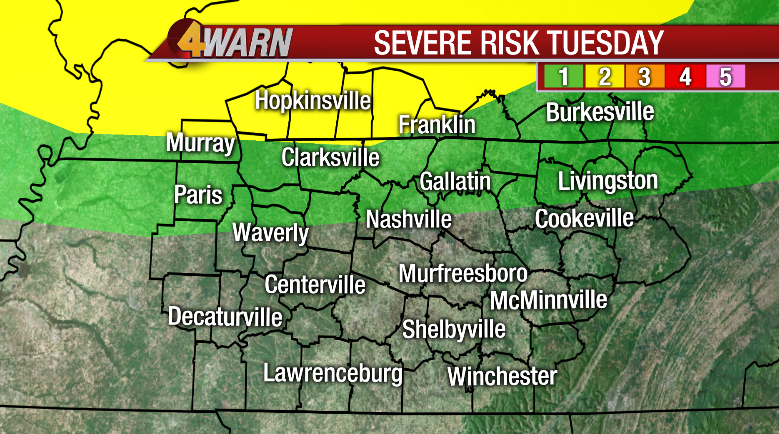 4WARN WEATHER ALERT Strong to severe storms possible today for areas along and north of I-40. The main threats are gusty winds, heavy rain, and hail. An hour by hour timeline on News4 Today. @WSMV @WSMVHollyT @ChrisMillerOnTV @Linds_NanceWSMV @shelbyasansone @JoshuaColeLive