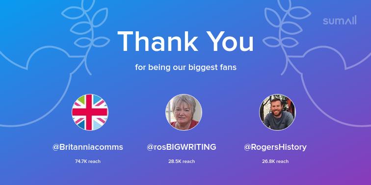 Our biggest fans this week: Britanniacomms, rosBIGWRITING, RogersHistory. Thank you! via sumall.com/thankyou?utm_s…