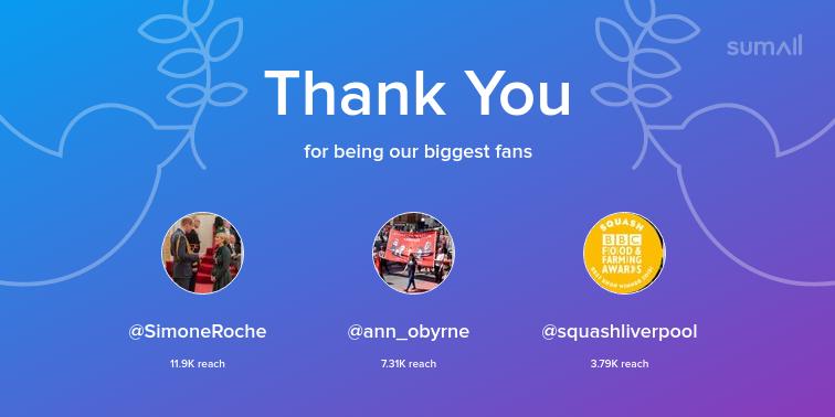 Our biggest fans this week: SimoneRoche, ann_obyrne, squashliverpool. Thank you! via sumall.com/thankyou?utm_s…