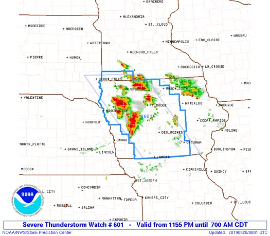 Developing MCS with watch and continued in propagation southward potentially threatens areas between Chicago and likely St. Louis later this morning and afternoon. Second map is SPC damaging wind probabilities.