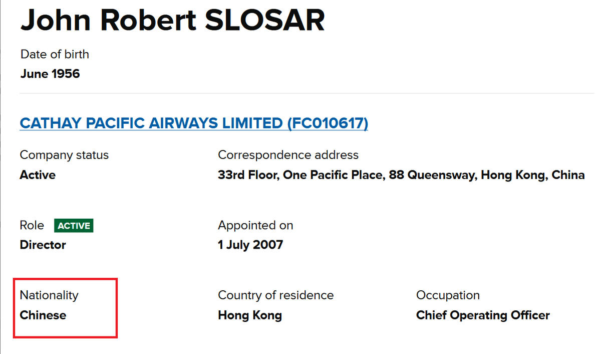 Flying the flag: Cathay Pacific chairman John Slosar is Chinese. He renounced his US citizenship in 2010. federalregister.gov/a/2010-12333