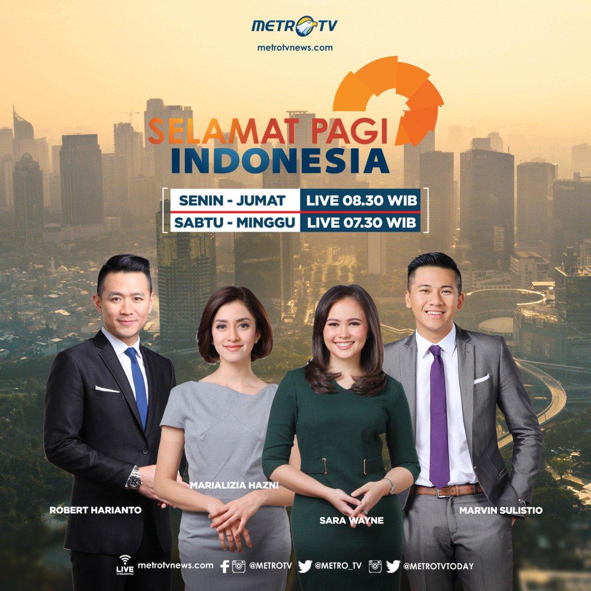 Dapatkan berbagai informasi untuk memulai pagi hari Anda dengan semangat, di #SelamatPagiIndonesia bersama Robert Harianto, Sara Wayne, Marvin Sulistio, dan Marializia Hasni, setiap Senin-Jumat pkl 08.30 WIB dan Sabtu-Minggu pkl 07.30 WIB di #MetroTV. #SPIMetroTV