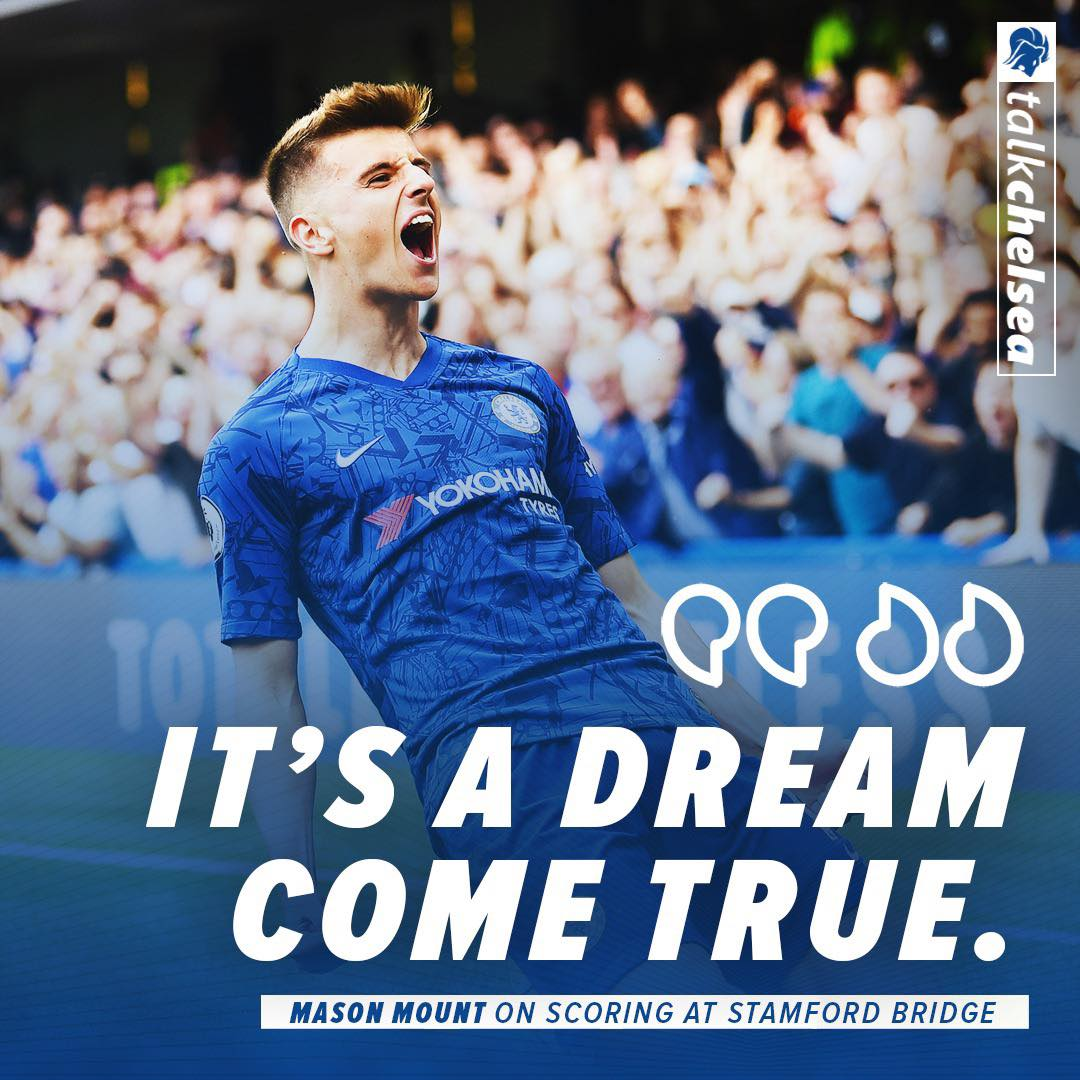 """""""It's a dream come true and I can't even describe the feeling, it's going to be with me for a long time."""" - Mason Mount on his first goal for Chelsea.  #cfc #chelsea <br>http://pic.twitter.com/mfdPWAzb1X"""