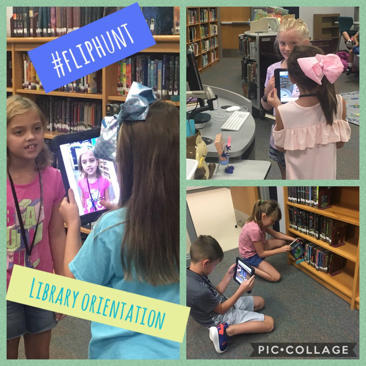 Ss on a #fliphunt for Library Orientation. Reviewing rules and having fun! #MISDProud @Flipgrid @MtPeak_Elem