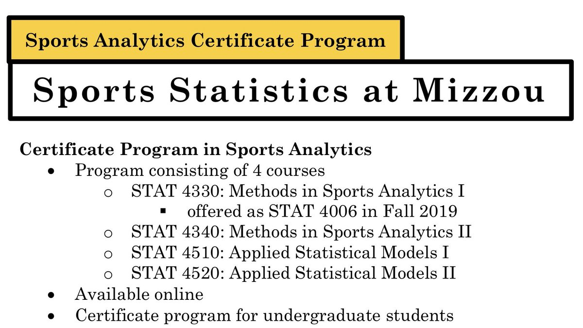 We are proud to announce Mizzou's new Certificate Program in Sports Analytics. Check out our website for more information https://t.co/O3K4L3EyWe https://t.co/uK5kst5V9F