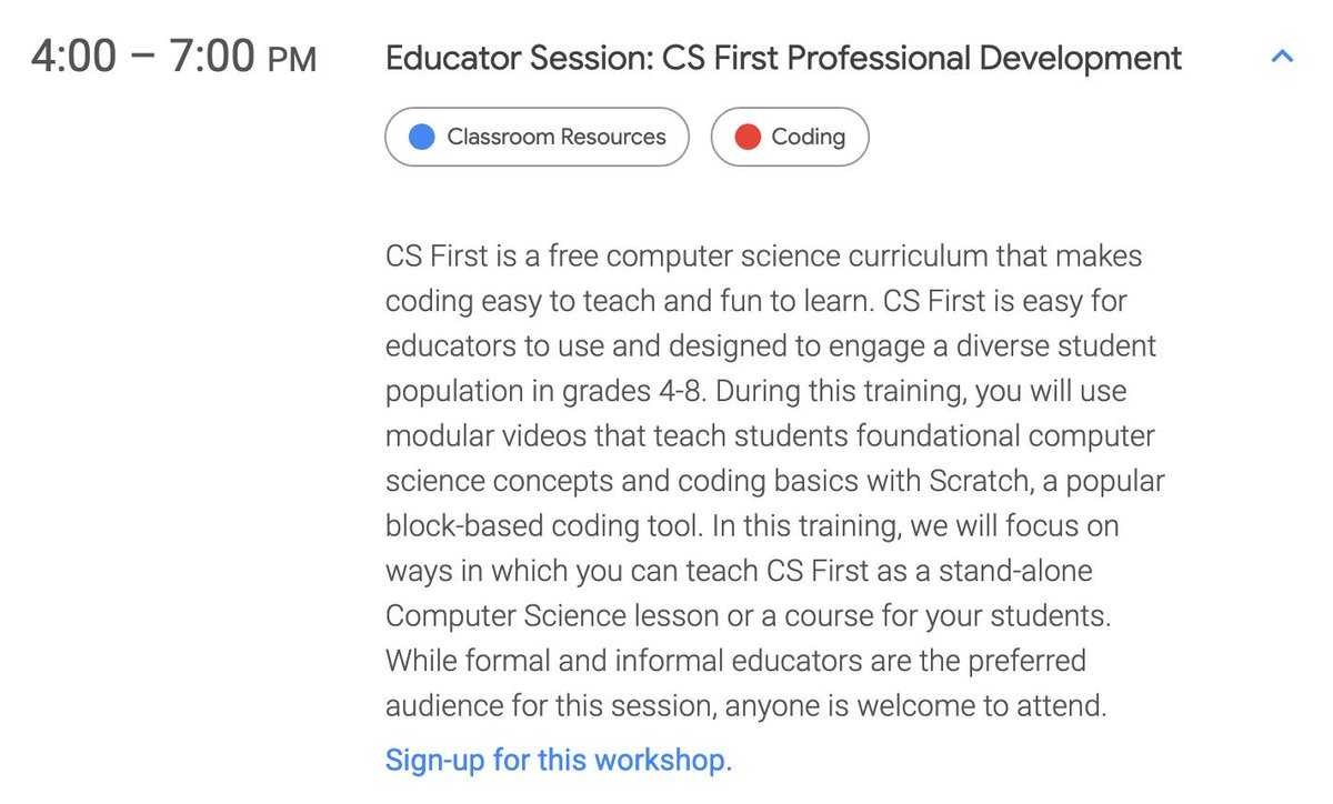 NYC Area Educators: Come to our next free @GoogleForEdu #CSFirst training on 9/5 from 4pm - 7pm at the #GrowWithGoogle Center in Chelsea! Kick off the school year with some @scratch coding lead by @mouse_org!  Register: https://t.co/Q8AoCbRJYq  #teachcode #csforall #cs4allnyc https://t.co/rBrGKzxZof
