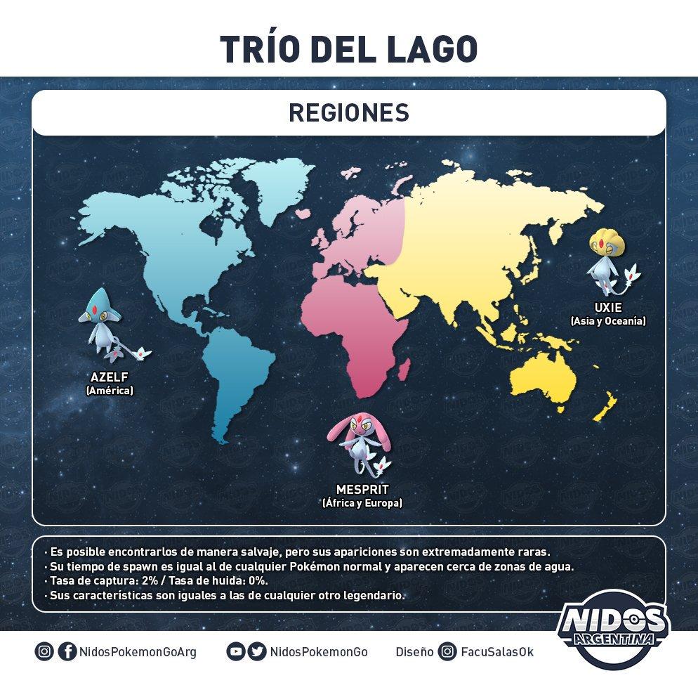 Imagen regiones del Trío del Lago hecho por Nidos Pokémon GO Argentina