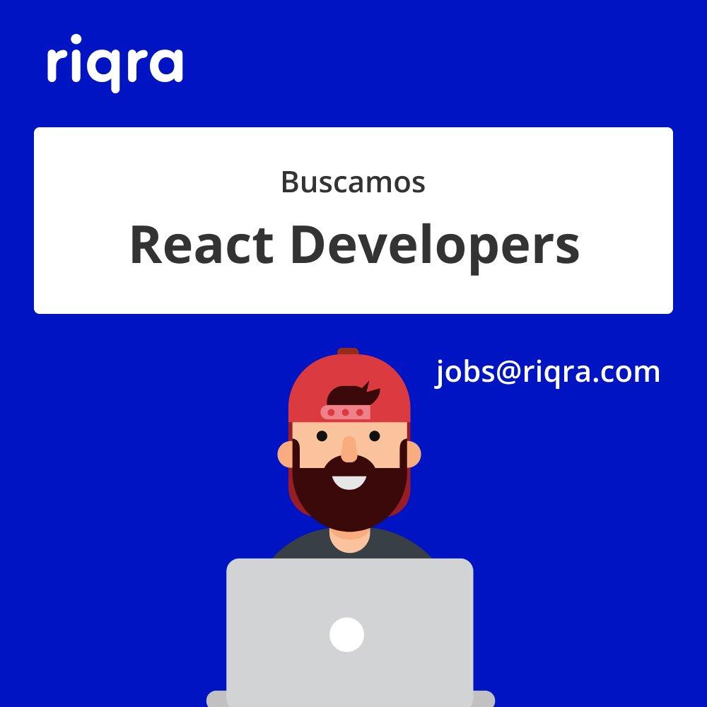 Estamos buscando a 3 React Developers con 1 año de experiencia e Inglés intermedio para que se unan a nuestro equipo. Ofrecemos entre $1000 y $1500 USD. Trabajamos con React, Styled Components, Next JS y GraphQL. Si estás interesado, escríbenos a jobs@riqra.com adjuntando tu CV. https://t.co/OPktseUBLc