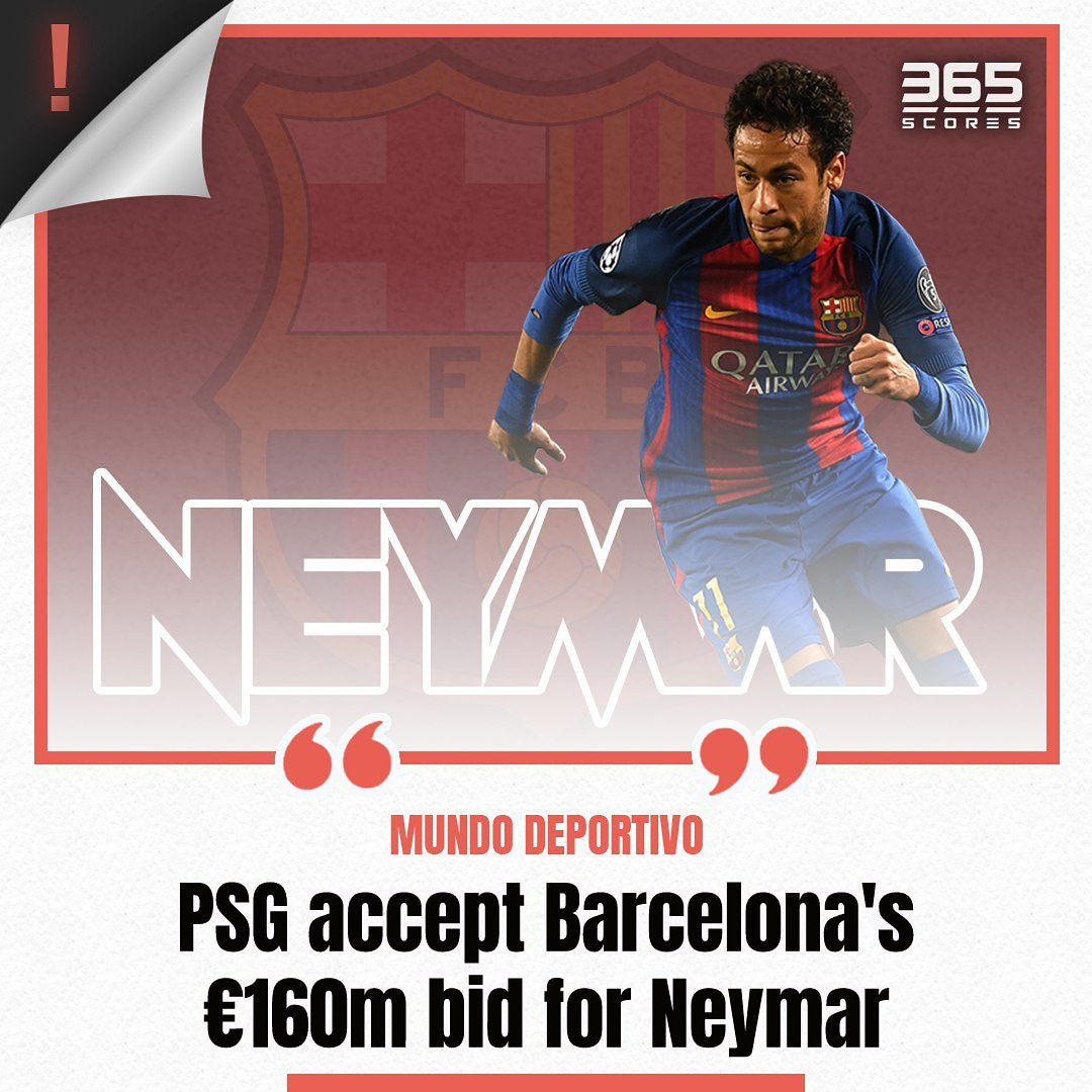 365scores On Twitter Per Mundodeportivo Barcelona And Psg Have Agreed On 160m Transfer Fee For Neymar 365scores Paris Fcbarcelona Barca Ligue1 Laliga Https T Co Ov3acdt0zs