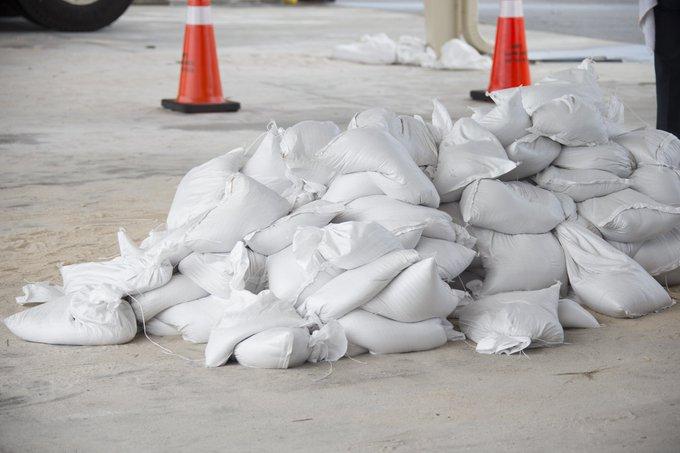 Photo of a pile of sandbags.