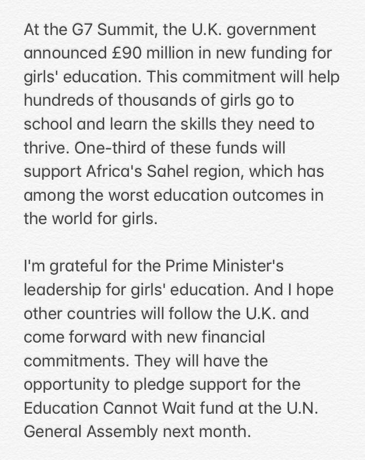 Last week at #G7Biarritz, the U.K. committed £90M in new funding for girls' education. @Malala's response below<br>http://pic.twitter.com/An8nnG1EYB