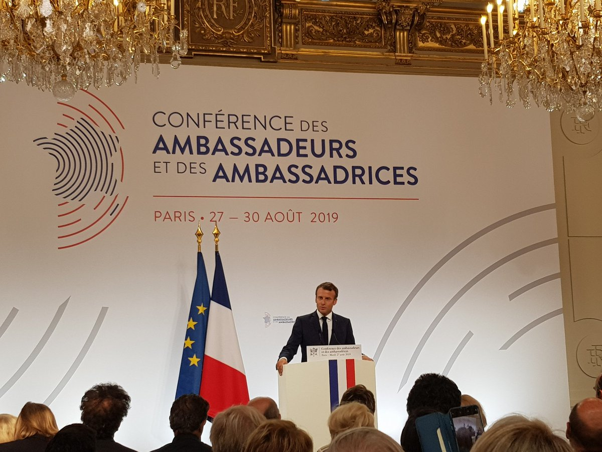 At the #AmbassadorsConference, opening speech of @EmmanuelMacron with 5 points:  1) France as a balancing power, 2) European sovereignty 3) Mediterranean & Africa 4) Multilateralism & common goods 5) Audacity as a method https://t.co/9pDXKrd3lx
