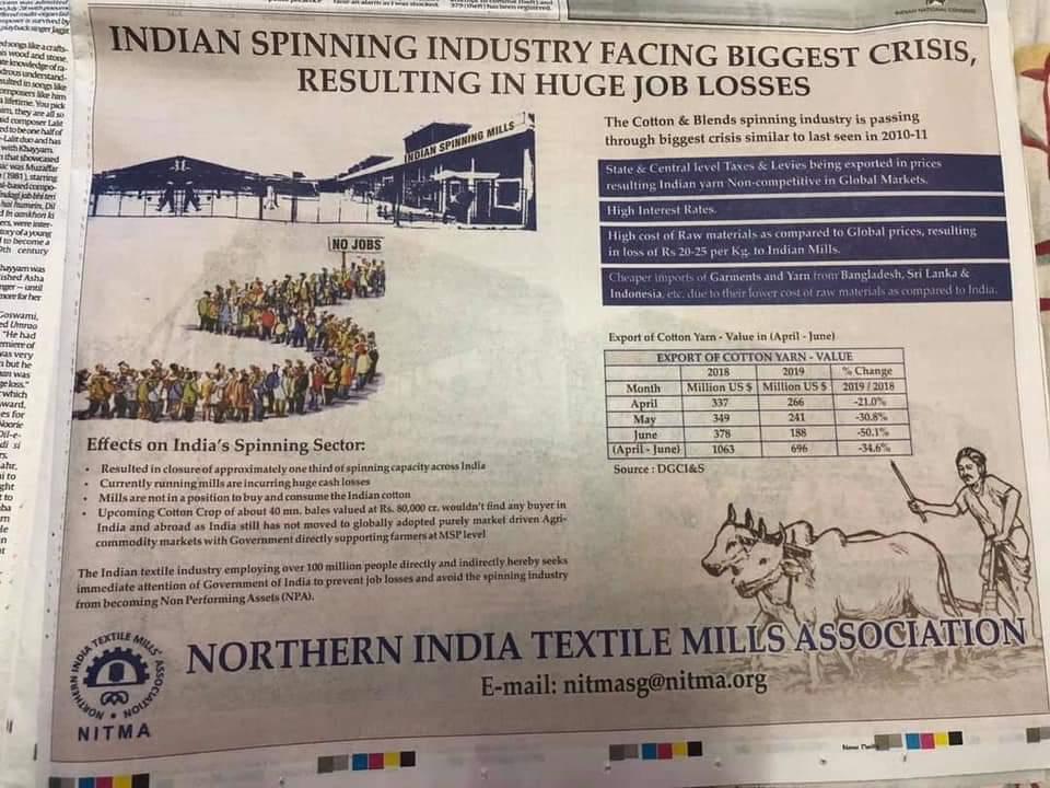@ravishndtv   @prateektv  @sakshijoshii  @vinodkapri  @VinodDua7  @zainabsikander @PTI_News @ANI   You all r  4th pillar of our Democracy  Kindly save millions of jobs and life of our farmers .. pls read this paper ad. they are seeking attention of govt. #TextileMills #SaveIndiapic.twitter.com/11uB8twEAP