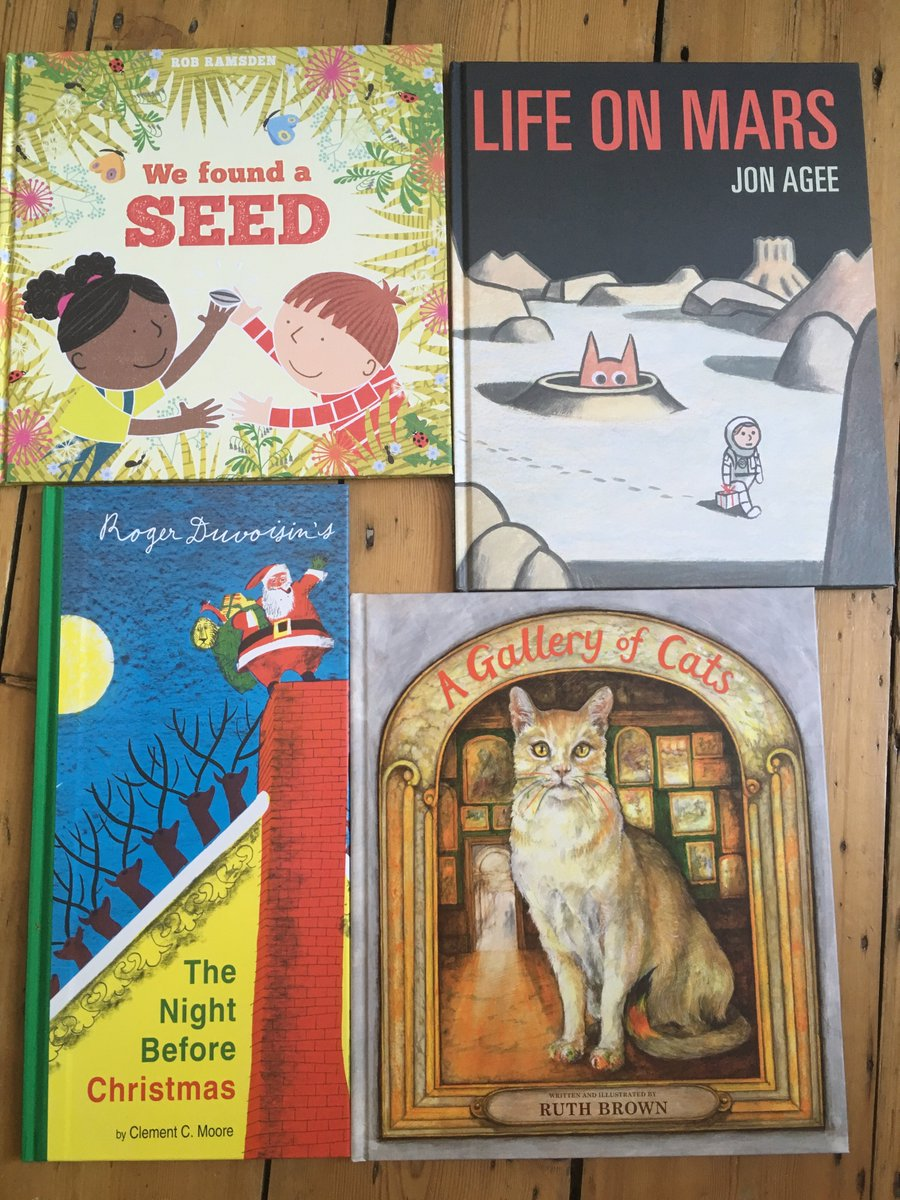 Scallywags autumn books are all safely gathered in the warehouse. Already out are #WeFoundASeed by @_robramsden and #LifeOnMarsAgee by #JonAgee, published 5 September are #NightBeforeChristmasDuvoisin illustrated by #RogerDuvoisin and #AGalleryofCats by #RuthBrown. #CKG2020