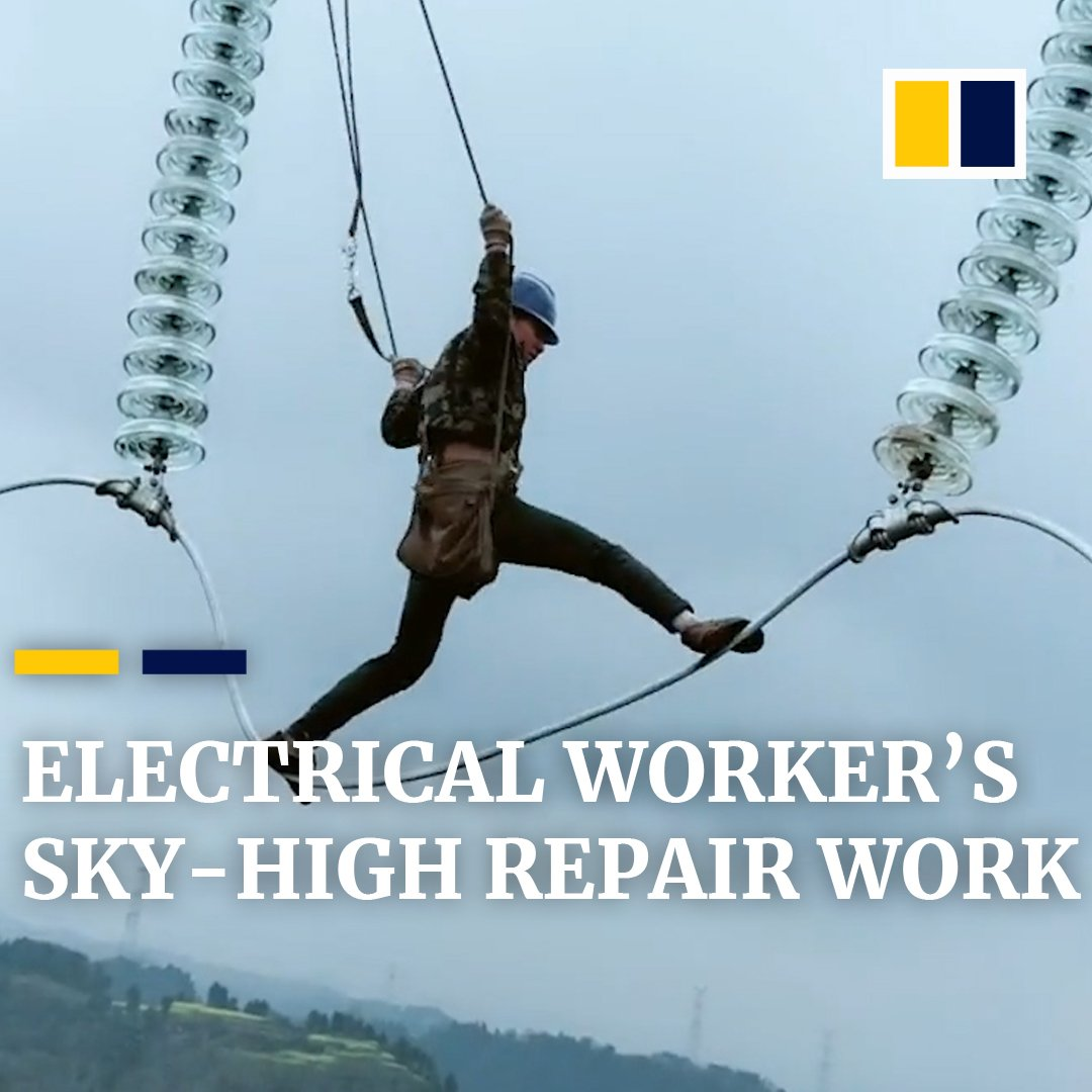 Spending up to 12 hours a day, hanging 200m above the ground - this is the life of an electrical worker in China.