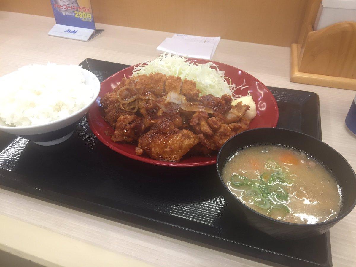 かつやの新作「生姜からあげだれのチキンカツ定食」、日本語おかしくない???と思って注文してみたらチキンカツに「生姜焼きの調味料とからあげを和えた
