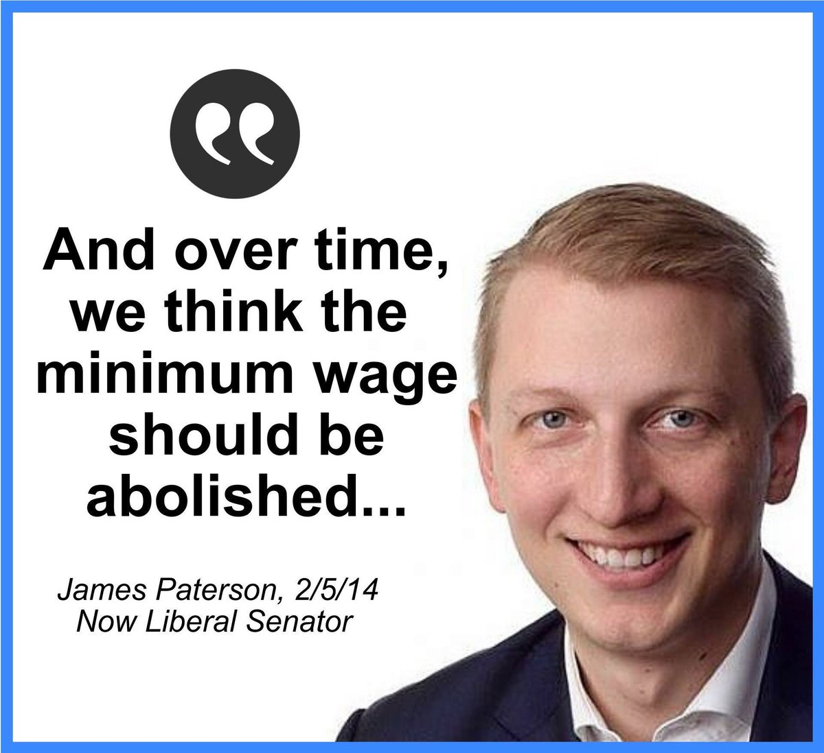 Today it was revealed that @TheIPA has been again lobbying parliamentarians to abolish the minimum wage. This would be familiar to the former IPA deputy executive director and now Liberal Senator, @SenPaterson. Scott Morrison must rule-out adopting the IPA's extreme agenda.