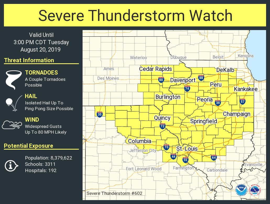 A severe thunderstorm watch has been issued for parts of Illinois, Iowa and Missouri until 3 PM CDT