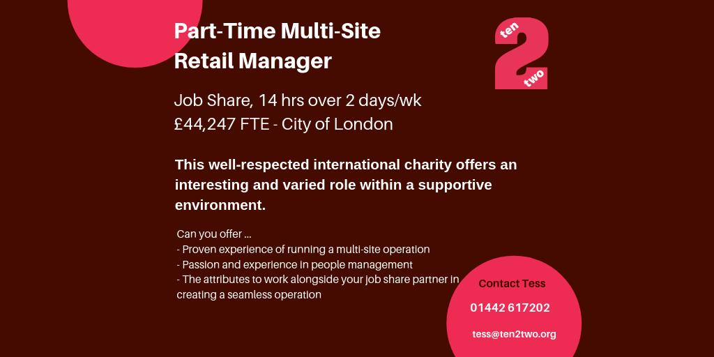 Amazing #parttime #jobshare #retail #opportunity for a fantastic charity in #London. For more info and to apply, please click here. ow.ly/8qdl50vCXEd