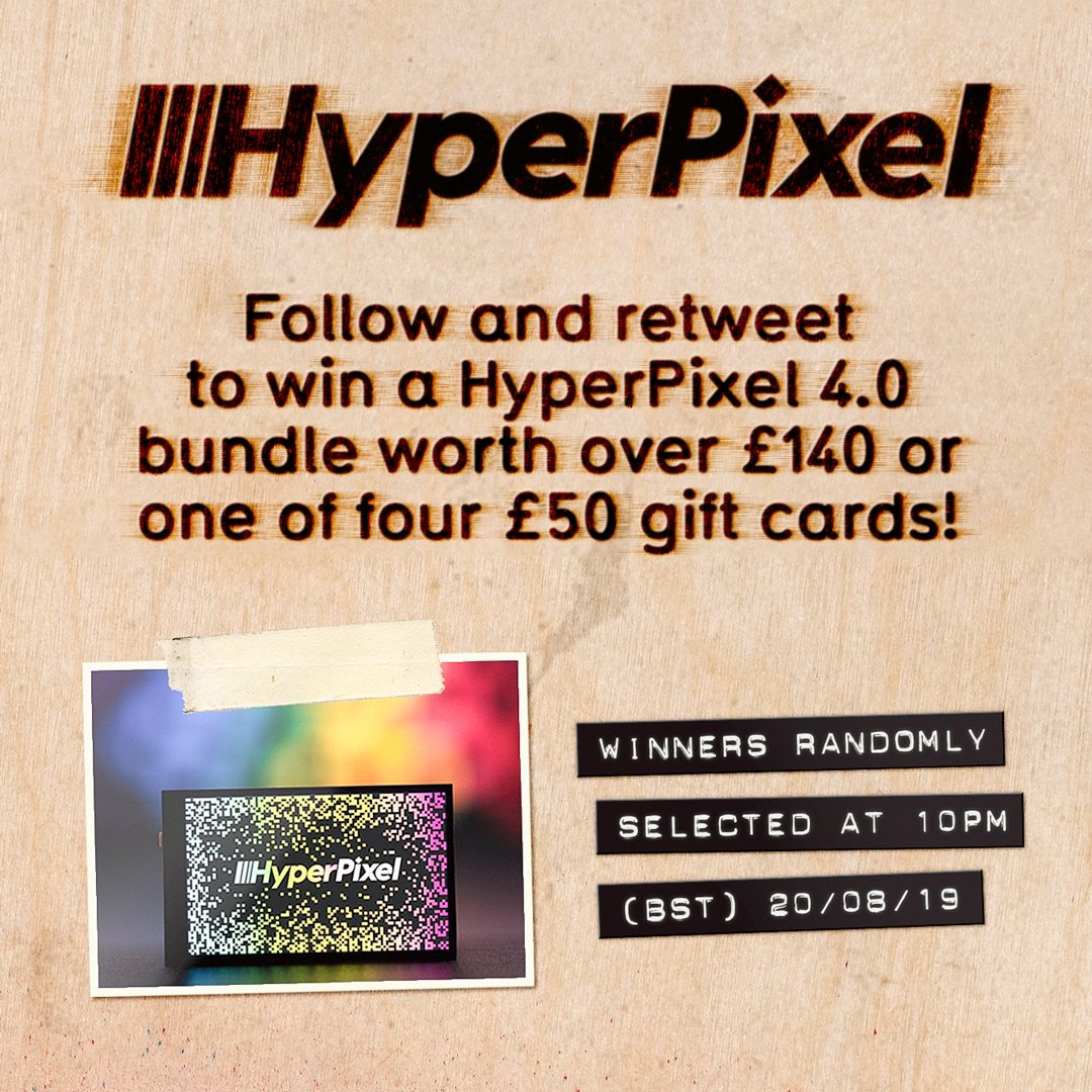 Aaaaaand here we go! 🎉 It's day one of seven in our 7th birthday giveaways. Up for grabs is a HyperPixel 4.0 Touch bundle worth over £140 or one of four £50 Pimoroni gift cards! Follow and retweet to be in with a chance. Winners selected randomly tonight at 10pm-ish!