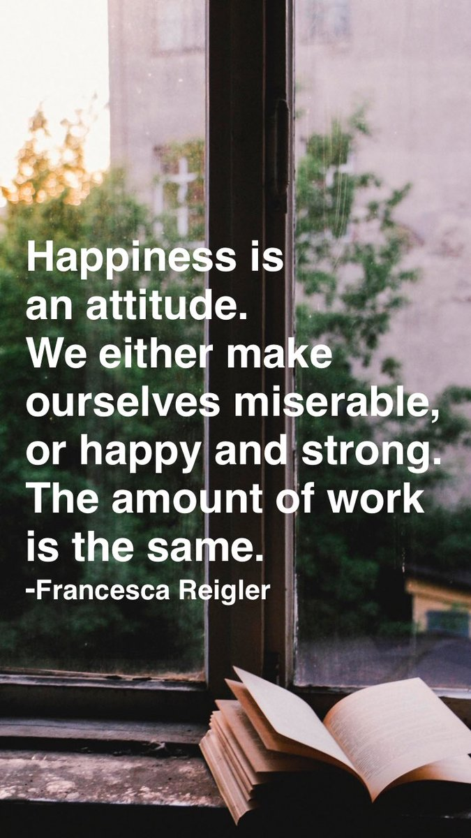 Happiness is an attitude. We either make ourselves miserable, or happy and strong. The amount of work is the same. -Francesca Reigler From @AppMotivation #motivation #quote #motivationalquote   http:// itunes.apple.com/app/id87608012 6?pt=119655832&ct=Share  … <br>http://pic.twitter.com/rOO8uYTkJG