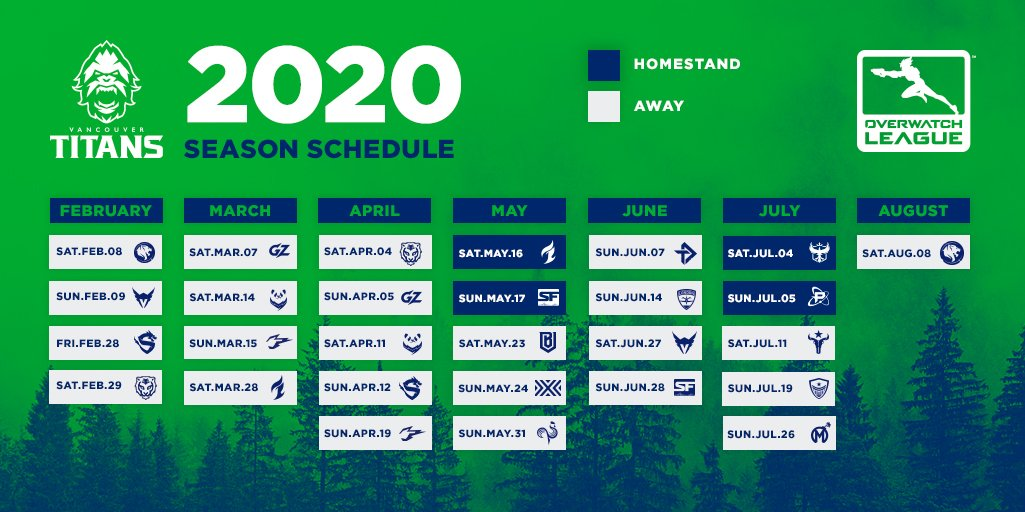 Titans Schedule 2020.Vancouver Titans Ar Twitter The 2020 Season Schedule For