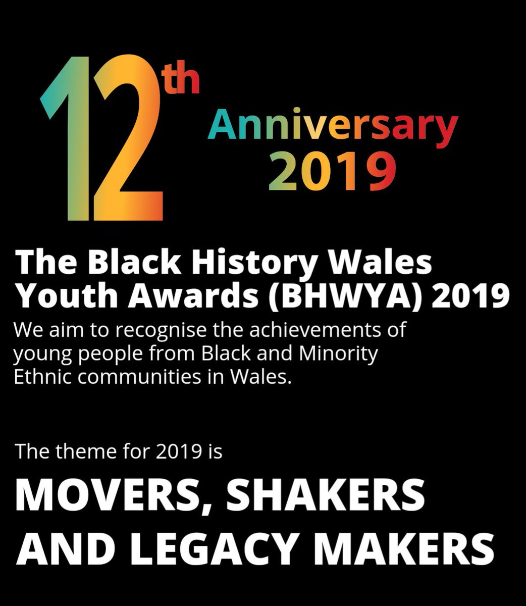 The Black History Wales Youth Awards 2019 Open for Nominations - Do you know someone aged 13-30 who goes above and beyond in our community? Nominate online now, by post or email #BHMWales2019 #BHMWales #blackhistorymonth  #BHMWales12 #BHMCymru365 #BHM    https:// mailchi.mp/510cdbe4c51e/t he-black-history-wales-youth-awards-bhwya-2019-open-for-nominations  … <br>http://pic.twitter.com/ABHE7zQn7F