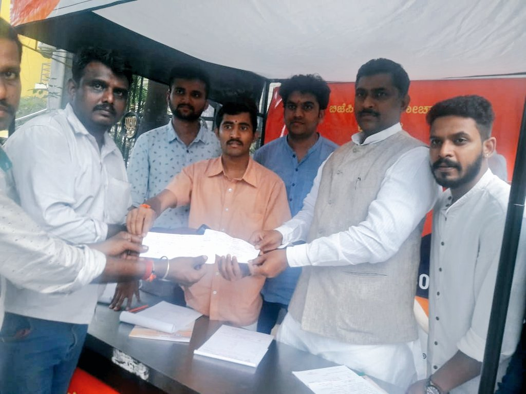 Participated in #BjpMemberShip drive in a  mobile booth at Bengaluru. <br>http://pic.twitter.com/bM8Vqg8M4G