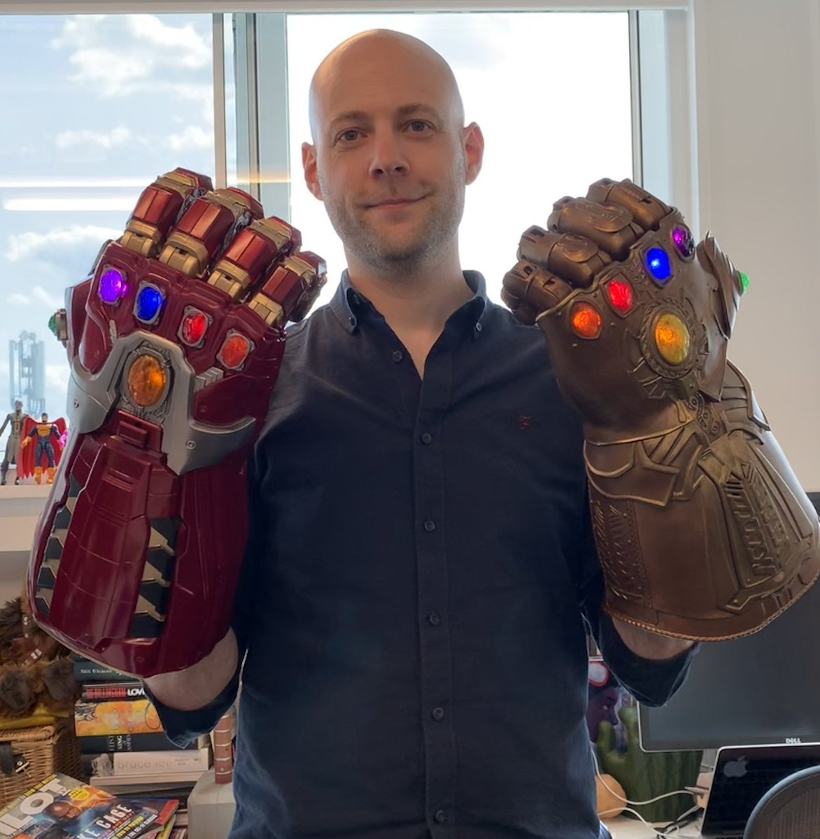 Thanks to @Hasbro for furnishing @jamescdyer with a *second* Infinity Gauntlet, allowing him to finally realise his plans for galactic domination.