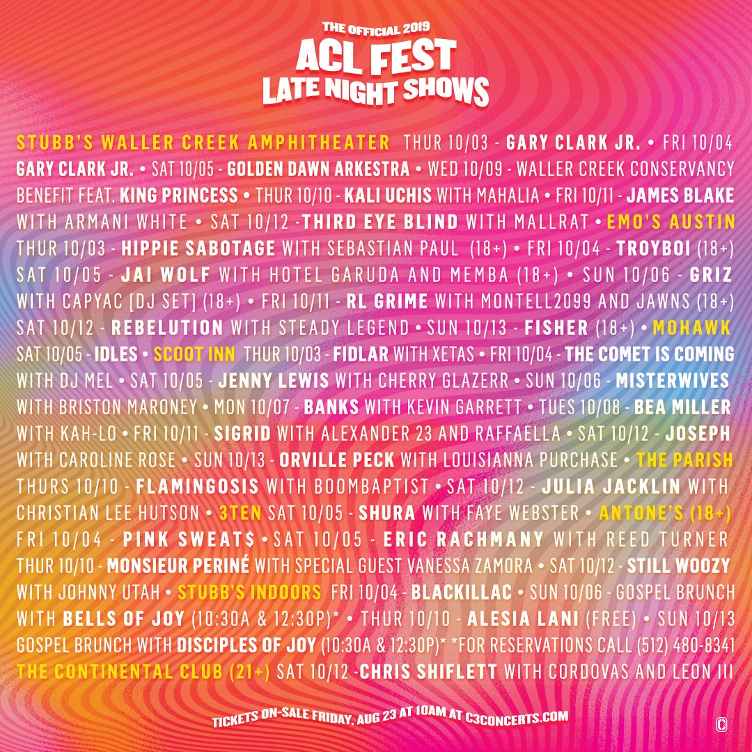 2019 Austin City Limits late night shows Lineup