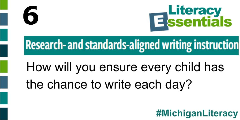 Q6: How will you ensure every child has the chance to write each day? #MichiganLiteracy<br>http://pic.twitter.com/BokXp2JPvE