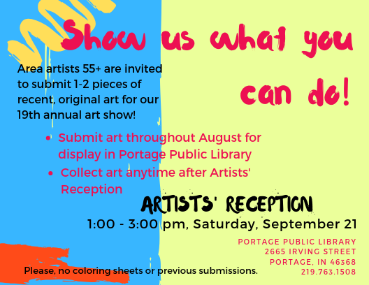 Share your artistic talent by submitting an original piece through August for the Senior Art Fair! #portercounty<br>http://pic.twitter.com/QcLnXoWeq2