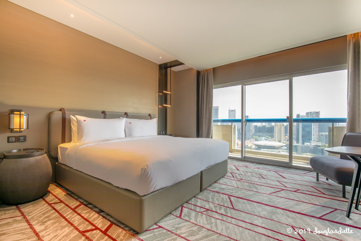 Our 30th floor suite at the Swissotel Stamford, Singapore