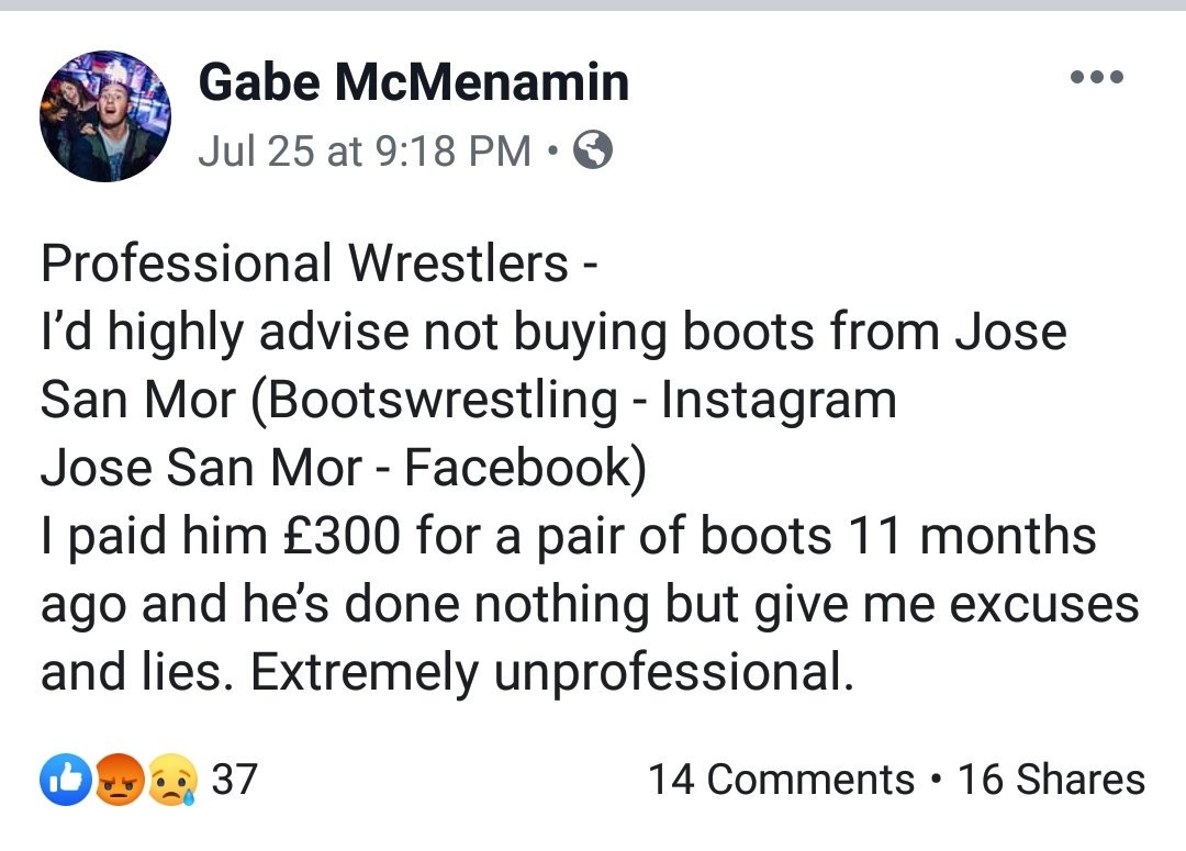 Two more complains for @latiinboot My friend Matthias never got his boots and a Wrestler called Gabe posted on his Facebook following... Unbelievable!!! DO NOT ORDER