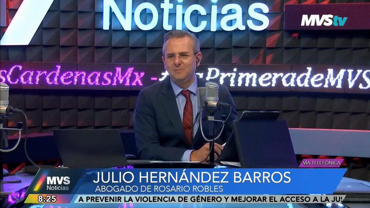 #EntrevistaMVS | #AlAire por el 102.5 FM, @MVStvOficial, http://noticiasmvs.com y @dailymotionLat: Julio Hernández Barros, abogado de Rosario Robles, habla en #LaPrimeradeMVS sobre el caso de su clienta.