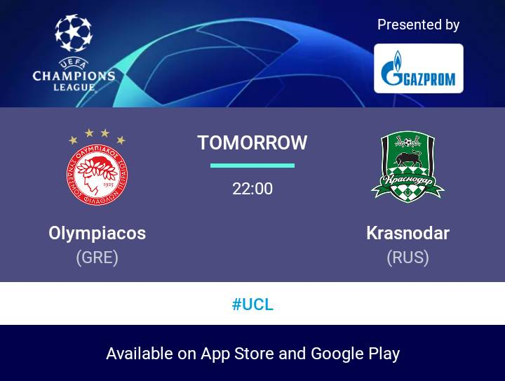 مباريات غدا من uefa champions league   Olympiacos v Krasnodar  #UCL https://t.co/JuCtQM0edw