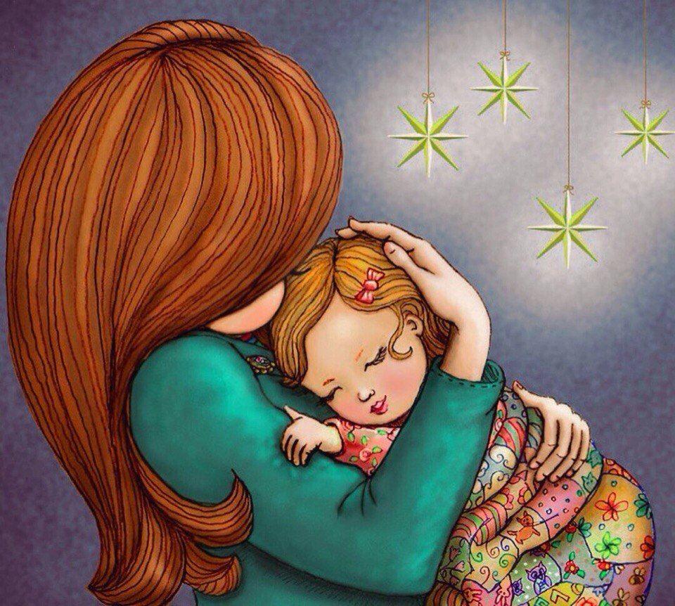 Картинки дочка с мамой рисованные