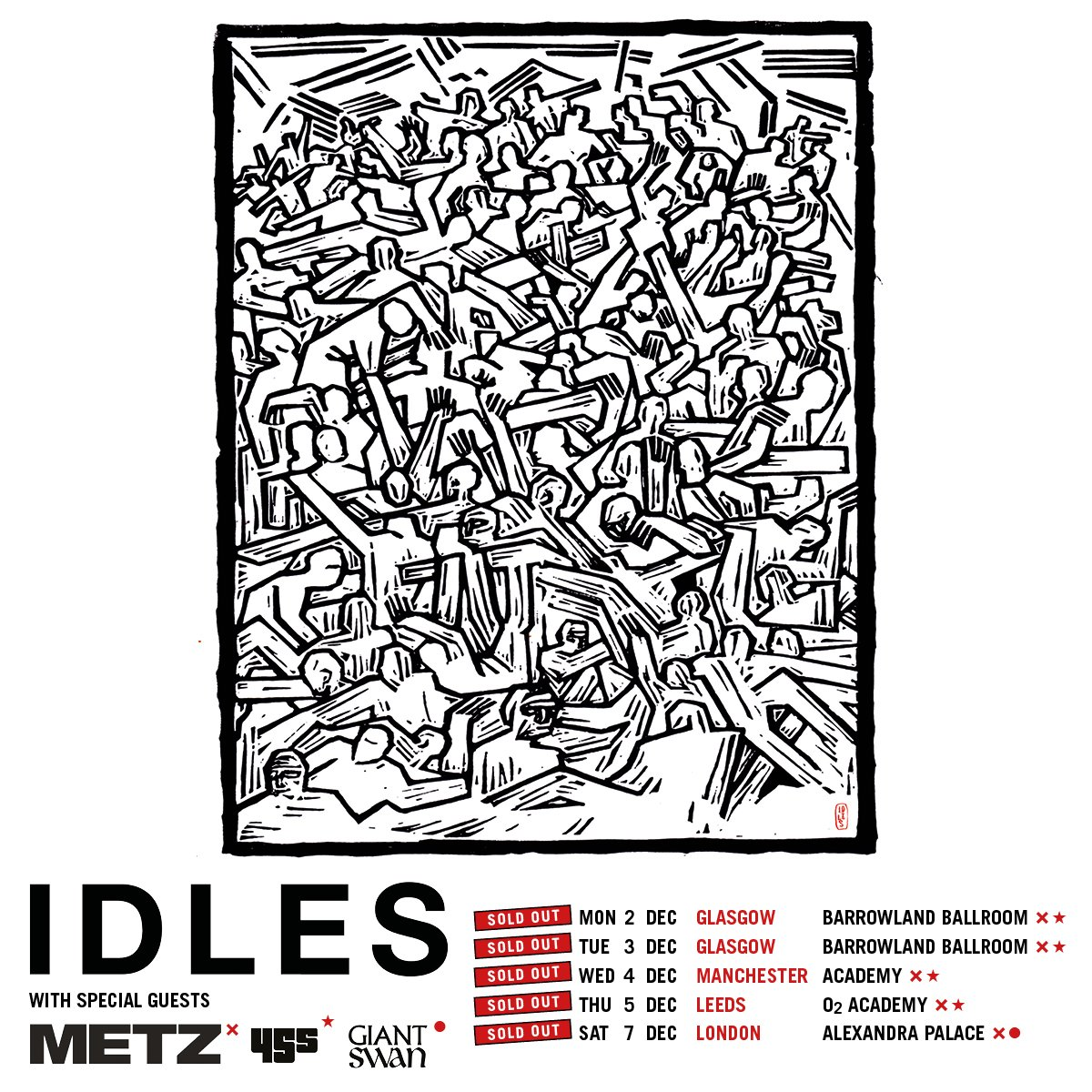 NEWS// 🚨 Support acts confirmed for @idlesband sold out out UK tour! @METZtheband |@45sband | @GiantGiantSwan 🔥